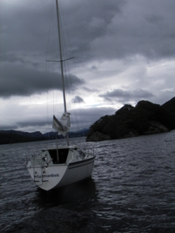 sailing boat moored south of peel island on coniston water in th