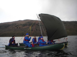 Open Canoe sailing Lake District