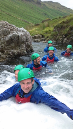 Gorge scrambling Team corporate events Coniston, Windermere Cumb