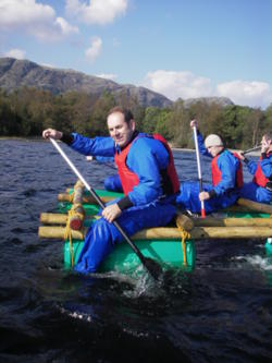 Raft building stag hen parties Windermere Lake District uk