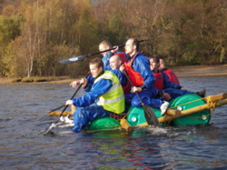 Raft building corporate events team building Lake District