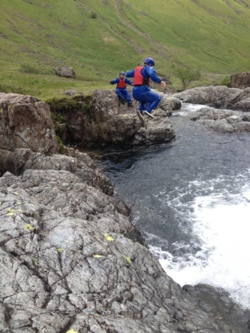 Esk gorge canyoning and cliff jumping Cumbria stag